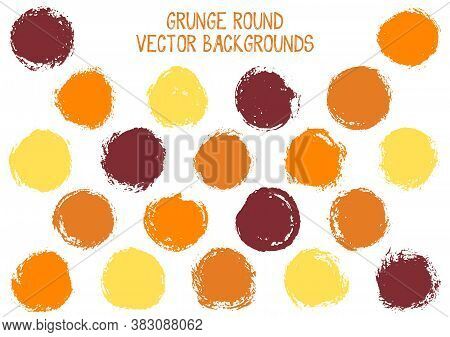 Vector Grunge Circles Isolated. Watercolor Stamp Texture Circle Scratched Label Backgrounds. Circula