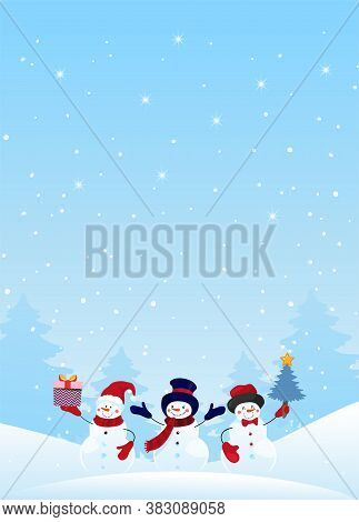 Group Of Snowman Characters With Gifts And Christmas Tree On A Winter Snowy Background. Christmas Ba