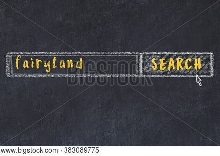Drawing Of Search Engine On Black Chalkboard. Concept Of Looking For Fairyland