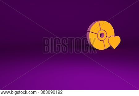 Orange Adult Label On Compact Disc Icon Isolated On Purple Background. Age Restriction Symbol. 18 Pl