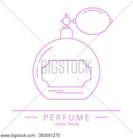 Retro Perfume Bottle, Retro Perfume Bottle Icon In Pink. Vector Illustration. Vector.