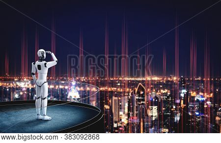 3d Illustration Robot Humanoid Looking Forward Against Cityscape Skyline . Concept Of Leadership, Id
