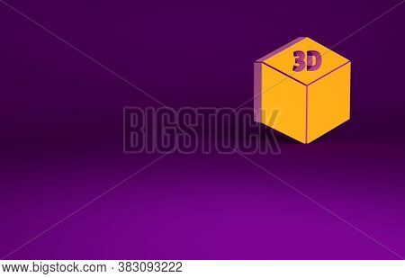 Orange Isometric Cube Icon Isolated On Purple Background. Geometric Cubes Solid Icon. 3d Square Sign