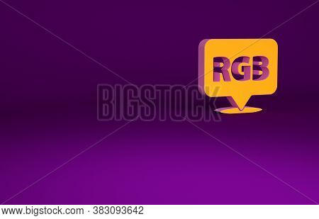 Orange Speech Bubble With Rgb And Cmyk Color Mixing Icon Isolated On Purple Background. Minimalism C