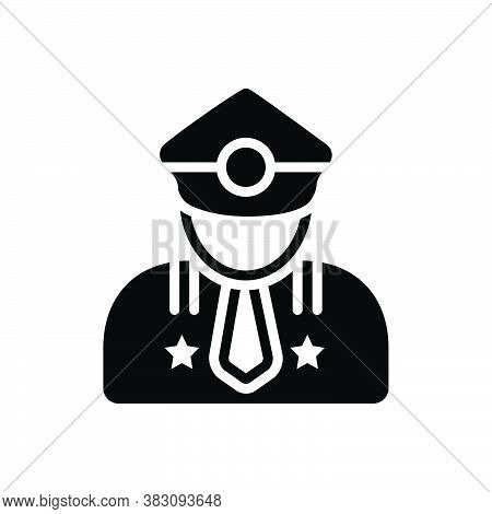 Black Solid Icon For Major Man Gentleman Portrait Officer Avatar Person Leading Superior