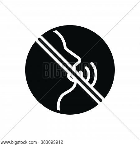 Black Solid Icon For Quietly Silently Noiselessly Soundless Tacitly Hush Dumb Gesture Caution Forbid