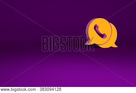 Orange Telephone With Speech Bubble Chat Icon Isolated On Purple Background. Support Customer Servic