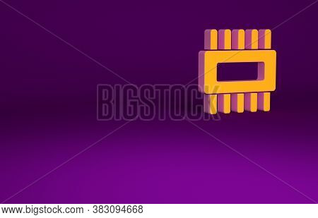 Orange Computer Processor With Microcircuits Cpu Icon Isolated On Purple Background. Chip Or Cpu Wit