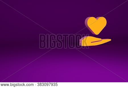 Orange Heart On Hand Icon Isolated On Purple Background. Hand Giving Love Symbol. Valentines Day Sym