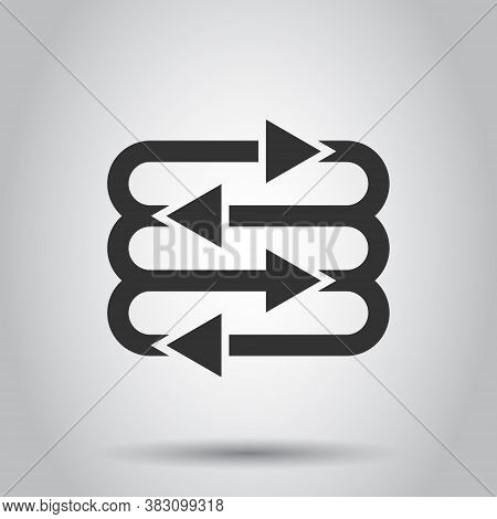Arrow Growth Icon In Flat Style. Evolution Vector Illustration On White Isolated Background. Process