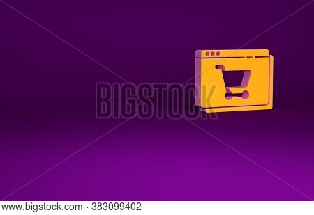 Orange Online Shopping On Screen Icon Isolated On Purple Background. Concept E-commerce, E-business,