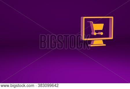 Orange Shopping Cart On Screen Computer Icon Isolated On Purple Background. Concept E-commerce, E-bu