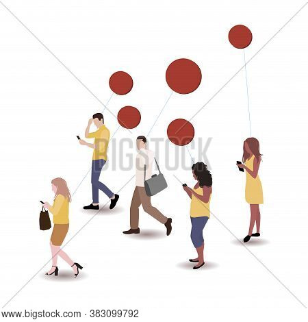 Busy People With Thoughts Or Speech Bubble. Busy Business People Walk To Work, Cartoon Think Worker.