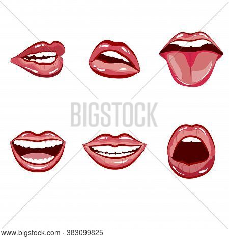 Happy Laughing Female Mouth With Red Lips. Vector Expression Laugh Mouth, Emotion Laughing With Tong