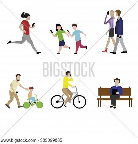 People With Addiction Smartphone Walk, Play And Run. Vector Social Online With Mobile Technology Ill