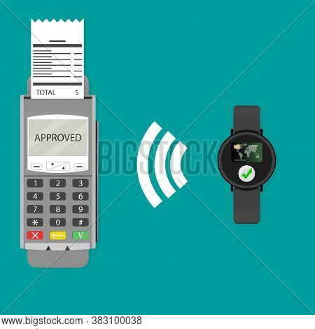 Paypass With Smartwatch. Vector Transaction Contactless Wireless. Modern Payment Transaction, Cashle