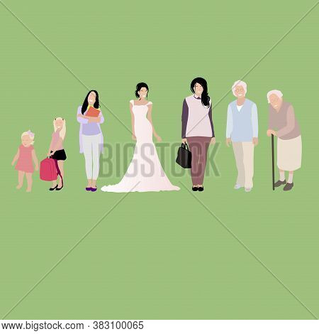 Female Development Stage Genaration, Baby Teen Woman. Adult And Child, Woman Young And Baby, Illustr