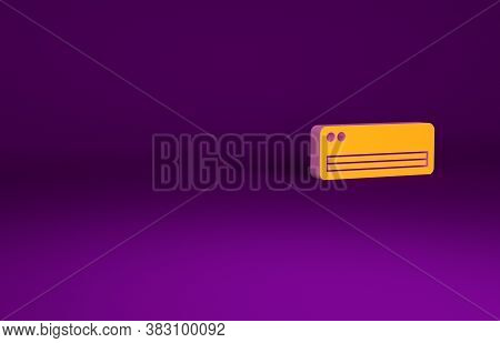 Orange Air Conditioner Icon Isolated On Purple Background. Split System Air Conditioning. Cool And C