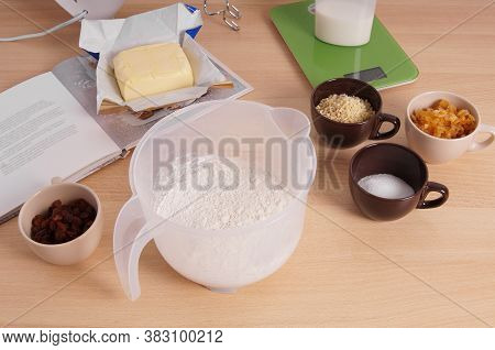 Home Baking Ingredients For Traditional German Stollen Cake Recipe - A Fruit Loaf Or Bread - On Kitc