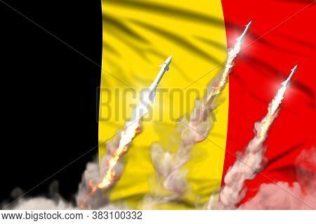 Belgium Ballistic Warhead Launch - Modern Strategic Nuclear Rocket Weapons Concept On Flag Fabric Ba