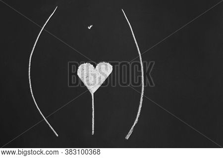 Heart Shape Pubic Hair Style Or Hairstyle - Simple Minimalist Line Drawing With Chalk On Blackboard