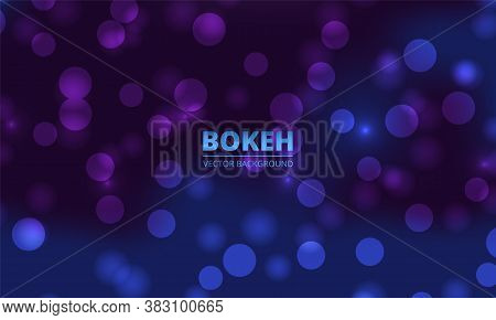 Blue And Violet Bokeh Lights Background. Holiday Glowing White Lights With Sparkles. Festive Defocus