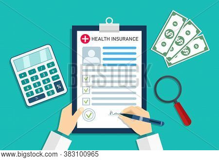 Health Insurance. Medical Insurer With Form Of Healthcare. Doctor In Hospital With Money And Calcula