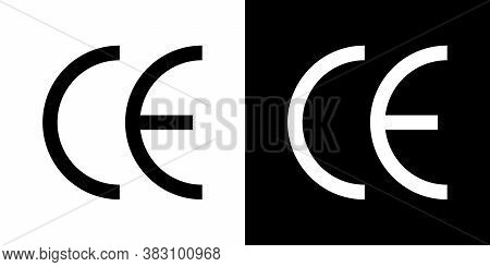 Ce Icon. Symbol Of European Certificate. Mark Of Quality. Logo Of Conformity Safety. Packaging Of Ma
