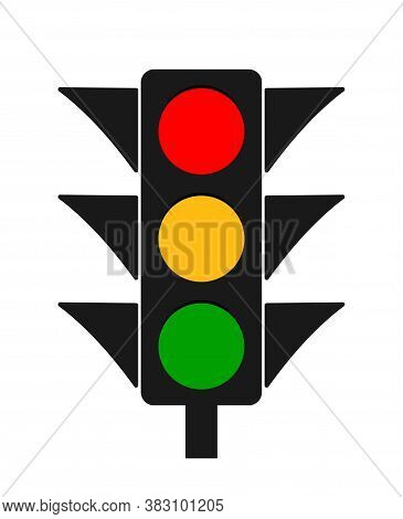 Traffic Light. Icon Of Stoplight. Red, Yellow, Green Signals For Safety On Road. Stop Or Go. Traffic