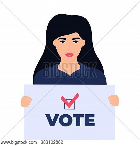 Girl Voter Holds A Poster With Text Vote