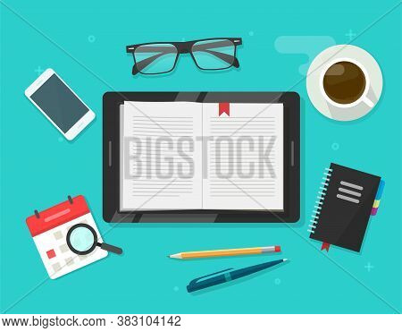 Digital Book Reading, Electronic Notebook Reader On Tablet Computer Vector Flat Cartoon Illustration