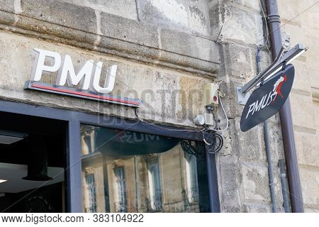 Bordeaux , Aquitaine / France - 08 25 2020 : Pmu White Logo Sign Front Of Store French Shop Horse Ra