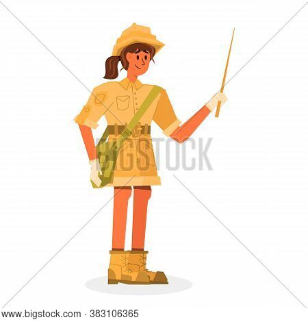 Flat Banner Girl Historian Holding A Wooden Pointer. An Employee Of The Archaeological Museum Conduc