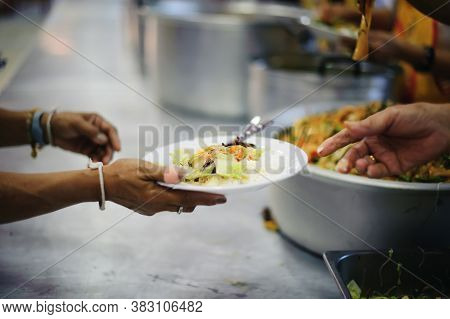 Providing Food To The Poor Is Helping Sharing From Fellow Humans Together : Concept Of Famine And So