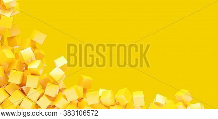 Modern Minimal Geometric Primitive Background From Orange Or Yellow Cubes On Yellow Background With