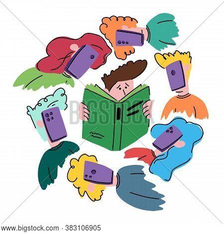 Boy Reads A Book Around Him Children With Phones, Vector Illustration. Social Problem. Children Get