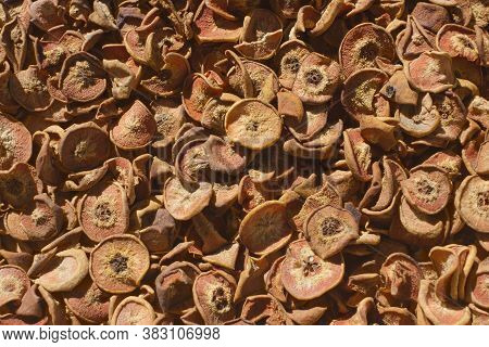 Many Pears That Are Chopped And Dried In The Sun. Vitamin And Healthy Food.