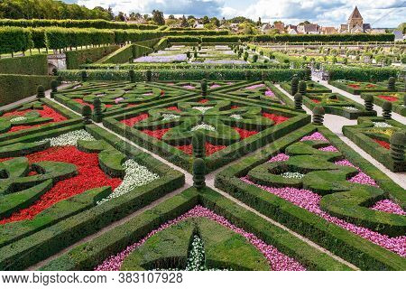 Villandry, France - September 7, 2019: This Is A Fragment Of Part Of The Ornamental Gardens Of The V