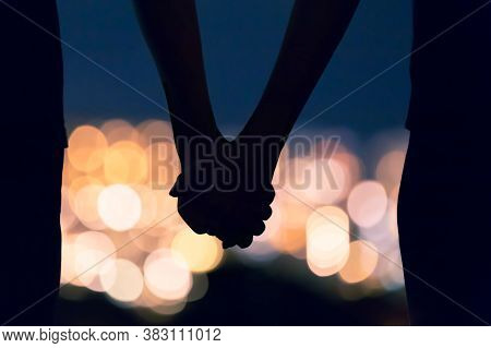 Love Concept. Couple In Love And Romance. Man And Girl Romantic Date. Heart Full Of Love With True F