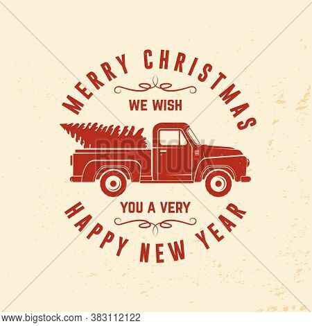 We Wish You A Very Merry Christmas And Happy New Year Stamp, Sticker With Classic Red Christmas Ttru
