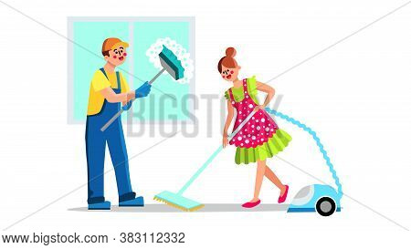 Cleaning Service Employees With Equipment Vector. Man With Mob Washing Window And Woman With Electro