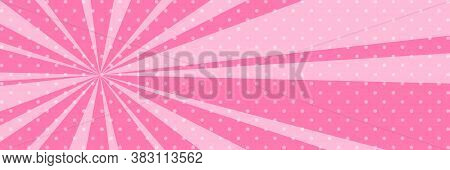 Cartoon Retro Pop Art Banner With Sunbeam, Dots On A Pink Banner And The Suns Rays , Illustration