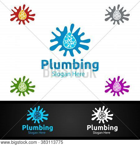 Splash Plumbing Logo With Water And Fix Home Concept Design