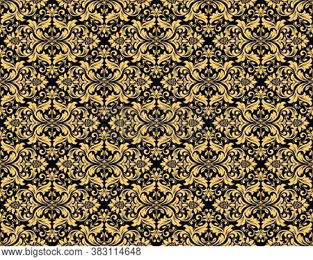 Wallpaper In The Style Of Baroque. Seamless Vector Background. Gold And Black Floral Ornament. Graph