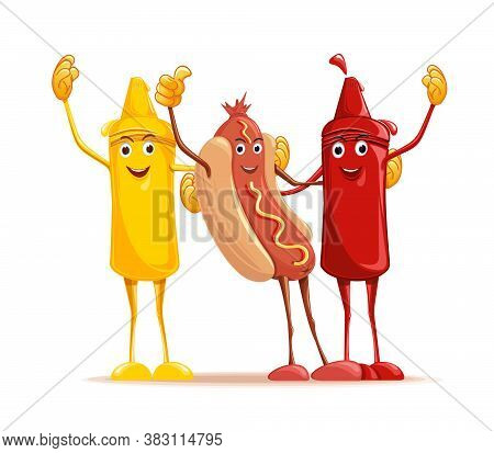 Cartoon Hotdog, Mustard And Tomato Ketchup Cuddling. Funny Fast Food. Cute Characters Mustard, Ketch