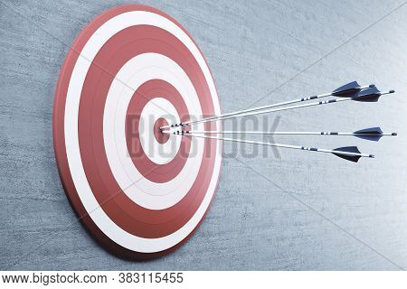 Arrows From A Bow In Red Target Center. Success And Startup Concept. 3d Rendering