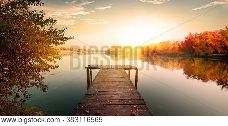 Forest Sunrise Misty Foggy Nature Background. Nature Rain Forest River, Green Forest Stream. Natural