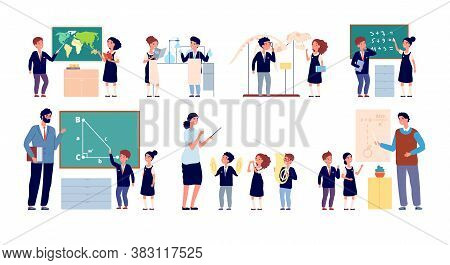 Lesson With Teacher. Children Classroom, Happy School Teaching. Cute Kids Group Blackboard, Isolated