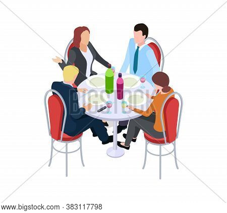 Business Meeting. Collegues In Cafe, Work Lunch. Isometric Man Woman Eating Drinking And Communicate