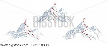 Mountain Paths. Progress, Success Hiking Path Business Metaphor. Journey Climb To Peak Or Route Of M